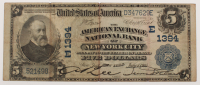 1902 $5 Five Dollars U.S. National Currency Large Bank Note - The American Exchange National Bank of New York City, New york at PristineAuction.com