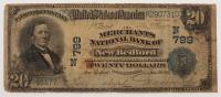 1902 $20 Twenty Dollars U.S. National Currency Large Bank Note - The Merchants National Bank of New Bedford, Massachusetts