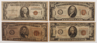 "Hawaii WWII ""Emergency Note"" Set of (4) with $1, $5, $10 & $20"