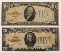 Lot of (2) 1928 Gold Certificates with (1) $20 Twenty Dollars & (1) $10 Ten Dollars at PristineAuction.com