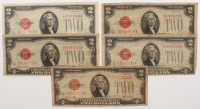 Lot of (5) 1928 $2 Two-Dollar Red Seal United States Legal Tender Notes