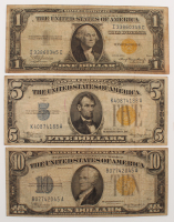 1934-35 North Africa Gold Seal Silver Certificate Bank Note Set of (3) with $10, $5 & $1