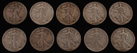 Lot of (10) 1916-1947 Walking Liberty Silver Half Dollars at PristineAuction.com