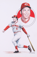 "Chuck Feist Signed ""Johnny Bench"" 10x15 Watercolor Painting (PA LOA) at PristineAuction.com"