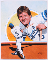 George Brett Kansas City Royals 16x20 Original Painting on Canvas Signed by Artist Leon Wolf (PA LOA) at PristineAuction.com