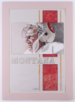 "Chuck Feist Signed ""Joe Montana"" 19.5x27 Custom Matted Watercolor Painting Display (PA LOA) at PristineAuction.com"