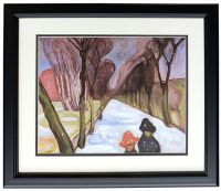 "Edvard Munch ""Snow Falling in the Lane"" 18x20 Custom Framed Print Display at PristineAuction.com"