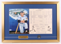Mickey Mantle Signed LE New York Yankees 18.5x26 Custom Framed Career Highlight Stat Card Display with Pin (PSA LOA)