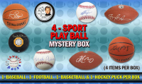 Schwartz Sports 4-Sport Play BALL Mystery Box - Series 1 (4 Items Per Box) (1 Each Baseball, Basketball, Football & Hockey Puck) (Limited to 75)