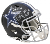 Ezekiel Elliott & Dak Prescott Signed Dallas Cowboys Full-Size Matte Black Speed Helmet (Beckett COA & Prescott Hologram)