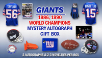 1986, 1990 New York Giants World Champs Mystery Autograph Gift Box – Series 1 (Limited to 100) – **Grand Prize TEAM Signed Jersey** at PristineAuction.com