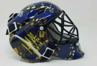 "Martin Brodeur Signed Blues Mini Goalie Mask Inscribed ""HOF 18"" (Fanatics Hologram) at PristineAuction.com"