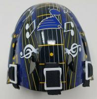 """Martin Brodeur Signed Blues Mini Goalie Mask Inscribed """"HOF 18"""" (Fanatics Hologram) at PristineAuction.com"""