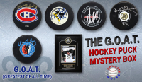 Schwartz Sports The G.O.A.T. Hockey Superstar Signed Hockey Puck Mystery Box - Series 1 (Limited to 100) (Pristine Exclusive Edition) at PristineAuction.com