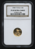 1988-P $5 Five Dollars American Gold Eagle Saint-Gaudens 1/10 Oz Gold Coin - Proof (NGC PF 69 Ultra Cameo) at PristineAuction.com