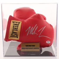Mike Tyson Signed Pair of (2) Everlast Boxing Gloves with Display Case (PSA COA)