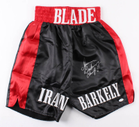 "Iran Barkley Signed Boxing Trunks Inscribed ""Champ"" (JSA COA)"