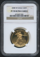 2008-W $25 Twenty Five Dollars American Gold Eagle Saint-Gaudens - 1/2 Oz Gold Coin - Proof (NGC PF 70 Ultra Cameo)