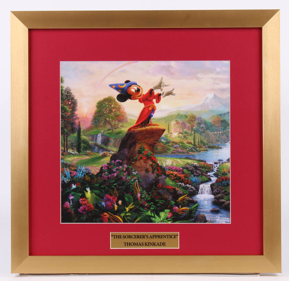 "Thomas Kinkade Walt Disney's ""The Sorcerer's Apprentice"" 17.5x18 Custom Framed Print Display at PristineAuction.com"