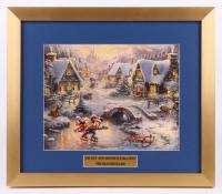 "Thomas Kinkade Walt Disney's ""Mickey & Minnie Ice Skating"" 15.5x18 Custom Framed Print Display"