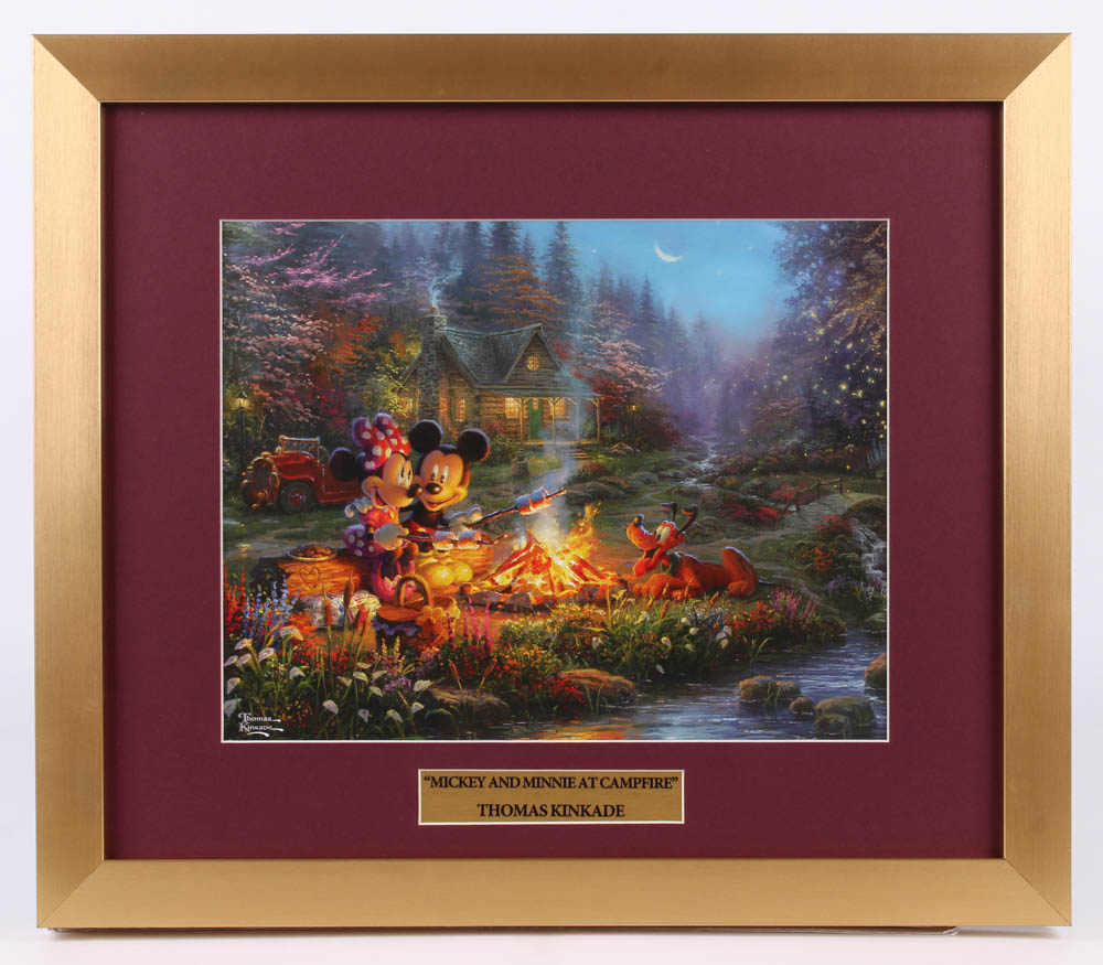"Thomas Kinkade Walt Disney's ""Mickey & Minnie at Campfire"" 15.5x18 Custom Framed Print Display at PristineAuction.com"