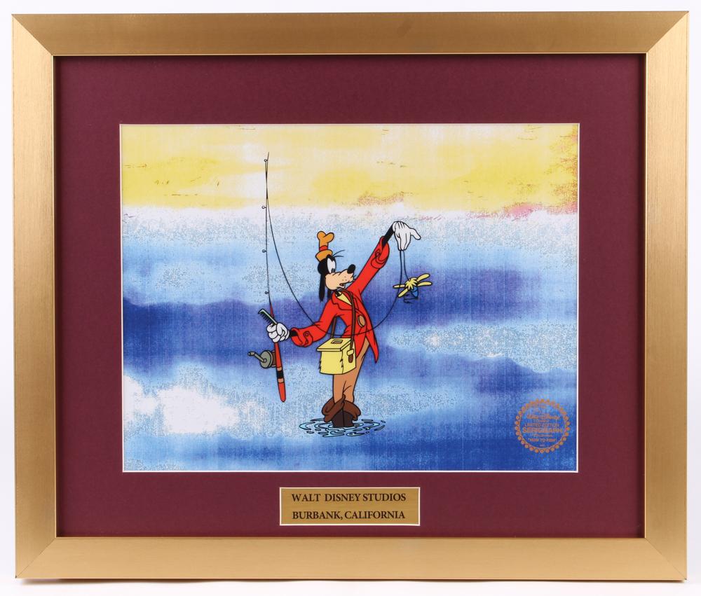 "Walt Disney's Goofy ""How to Fish"" 16x19 Custom Framed Animation Sericel Display at PristineAuction.com"