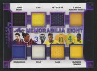 2019 Leaf Ultimate Sports Ultimate Memorabilia Eights Purple Spectrum Foil #U808 Lionel Messi / Ronaldinho / Cris / Pele / Neymar Jr. / Kaka / Carlos Alberto Torres / Ousmane Dembele