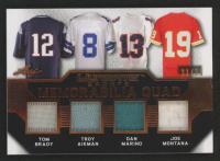 2019 Leaf Ultimate Sports Ultimate Memorabilia Quads Bronze Spectrum Foil #U402 Tom Brady / Troy Aikman / Dan Marino / Joe Montana