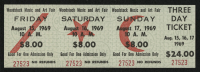 Woodstock Authentic Unused Three-Day Ticket from August 15-17, 1969 at PristineAuction.com