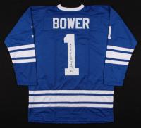 """Johnny Bower Signed Jersey Inscribed """"HOF 76"""" (Beckett COA)"""