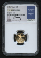 2018-W $5 Five Dollars American Gold Eagle Saint-Gaudens 1/10 Oz Gold Coin - Signed by U.S. Mint Director Edmund C. Moy (NGC PF 70 Ultra Cameo)