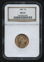 1882 $5 Liberty Head Half Eagle Gold Coin (NGC MS 62) at PristineAuction.com