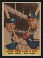 1958 Topps #418 World Series Batting Foes / Mickey Mantle / Hank Aaron