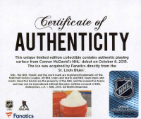 Connor McDavid Edmonton Oilers NHL Debut - Crystal Hockey Puck - Filled with Ice from NHL Debut (Fanatics COA) at PristineAuction.com