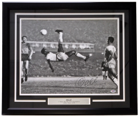 "Pele Signed Team Brazil ""Bicycle Kick"" 22x27 Custom Framed Photo Display (PSA COA)"
