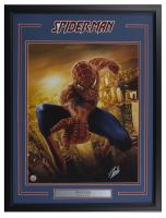 """Stan Lee Signed """"Spider-Man"""" 23x30 Custom Framed Photo Display (Lee Hologram)"""