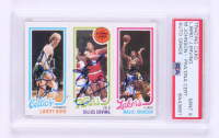 Magic Johnson, Larry Bird, & Julius Erving Signed 1980-81 Topps #6 (PSA Encapsulated) at PristineAuction.com