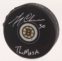 """Gerry Cheevers Signed Boston Bruins Logo Hockey Puck Inscribed """"The Mask"""" (Schwartz COA)"""