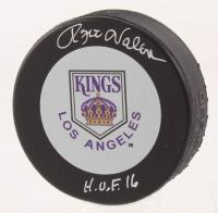 "Rogie Vachon Signed Los Angeles Kings Throwback Logo Hockey Puck Inscribed ""H.O.F. 16"" (Schwartz COA)"