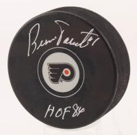 """Bernie Parent Signed Philadelphia Flyers Logo Hockey Puck Inscribed """"HOF 84"""" (Schwartz COA)"""
