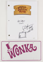 "Lot of (2) ""Willy Wonka & The Chocolate Factory"" Items with (1) Peter Ostrum and Paris Themmen Signed Movie Script Inscribed ""Charlie"" & ""Mike Teevee"" With Sketch & (1) Unsigned ""Wonka"" License Plate (JSA COA) at PristineAuction.com"