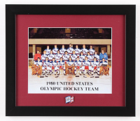 """1980 """"Miracle on Ice"""" Team USA 13x15 Custom Framed Photo Display with Vintage Olympic Pin"""