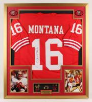 Joe Montana Signed 32x36 Custom Framed Jersey Display with Super Bowl Championship Pins (PSA COA)