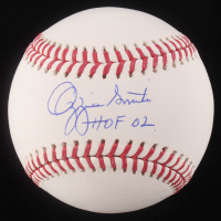 "Ozzie Smith Signed OML Baseball Inscribed ""HOF 02"" (Schwartz COA)"