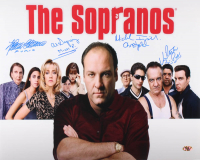 """The Sopranos"" 16x20 Photo Cast-Signed by (4) With Michael Imperioli, Vincent Pastore, Al Sapienza & Federico Castelluccio with Multiple Inscriptions (MAB Hologram) at PristineAuction.com"