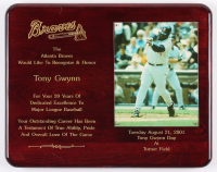 Tony Gwynn San Deigo Padres 12x15 Braves Recognition Plaque