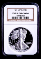 1987-S American Silver Eagle $1 One-Dollar Coin (NGC PF69 Ultra Cameo)