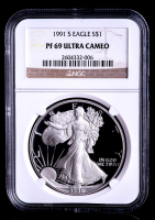 1991-S American Silver Eagle $1 One-Dollar Coin (NGC PF69 Ultra Cameo)