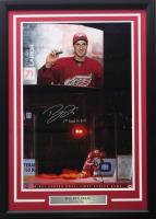 """Dylan Larkin Signed LE Detroit Red Wings 22x27 Custom Framed Photo Display Inscribed """"1st Goal 10-9-13"""" (UDA Hologram)"""