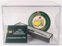 """Lot of (3) 1996 """"The Masters"""" Tournament Items with Pin, Pen, & Bag Tag with Wood Base Display Case at PristineAuction.com"""